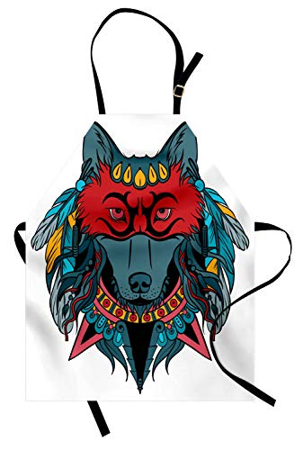 Ambesonne Tribal Apron, Ethnic Warrior Wolf Portrait with Mask Feathers Native American Animal Art, Unisex Kitchen Bib Apron with Adjustable Neck for Cooking Baking Gardening, Teal White and Red -