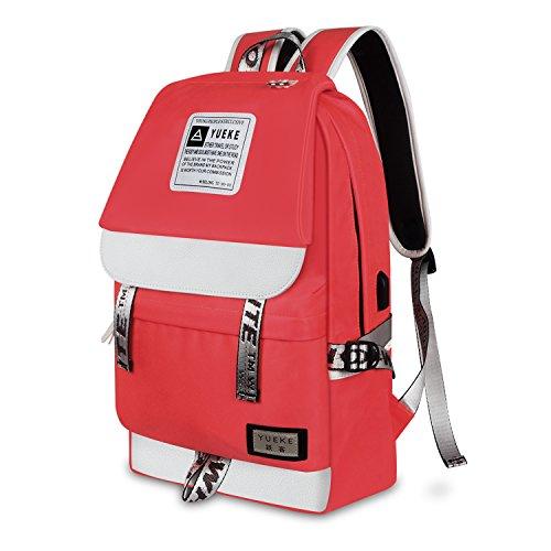 Unisex Fashion Casual School Travel Laptop Backpack Rucksack Daypack Tablet Bags (Orange) - 1