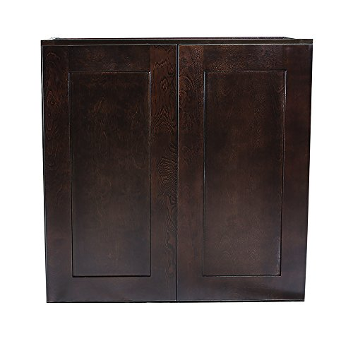 Design House 543041 Brookings Unassembled Shaker Wall 24x36x12, Espresso RTA Kitchen Cabinets, 36 in in,