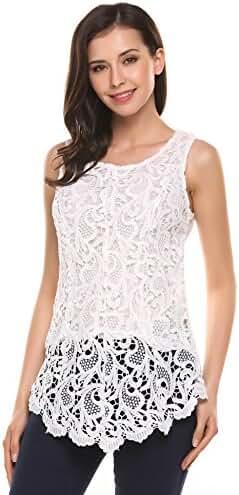 Zeagoo Women's Sexy Lace Patchwork Shirt Sleeveless Asymmetrical Hem Slim Tops