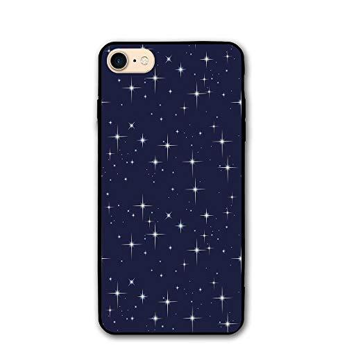 Haixia iPhone 7/8 Protective Case Cover 4.7 Inch Space Night Sky with Stars Romantic Space Themed Image Dotted Background Constellation Decorative Dark Blue White