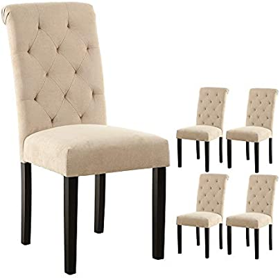 Amazon Com Lssbought Stylish Dining Room Chairs With Solid Wood Legs Set Of 4 Beige Chairs
