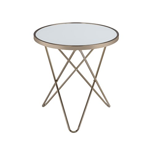 (Acme Valora End Table, Frosted Glass & Champagne)