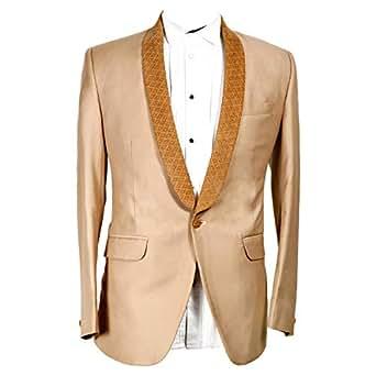 Libas Riyaz Gangji Beige Polyester Blazer For Men