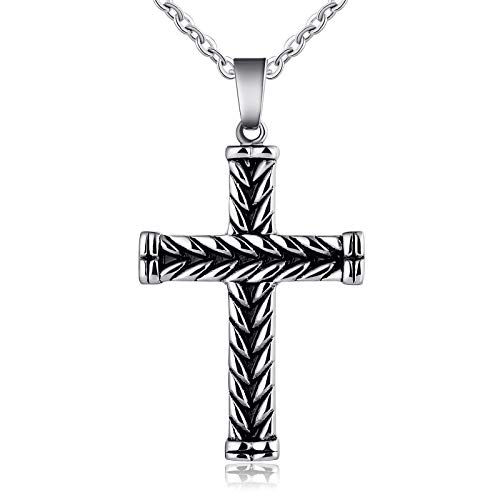 (ANAZOZ Stainless Steel Pendant Men Weaving Cross Pendant Necklace Silver Black)