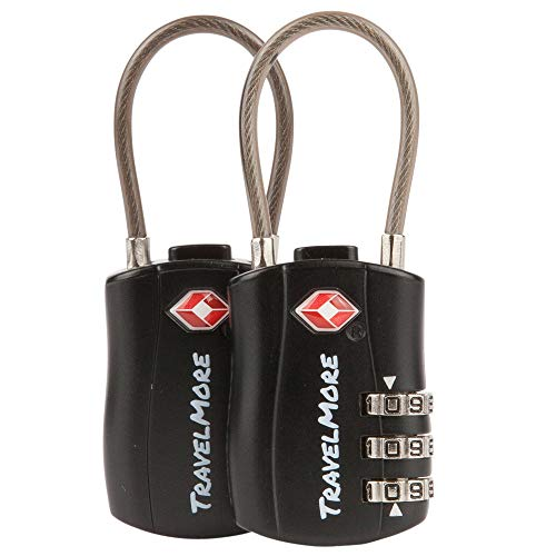 2 Pack TSA Approved Travel Combination Cable Luggage Locks for Suitcases & Backpacks - Black