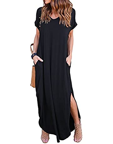 a3ac8bf7654 GRECERELLE Women s Casual Loose Pocket Long Dress Short Sleeve Split Maxi  Dresses