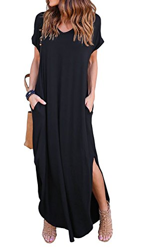 GRECERELLE Women's Casual Loose Pocket Long Dress Short Sleeve Split Maxi Dress Black L by GRECERELLE