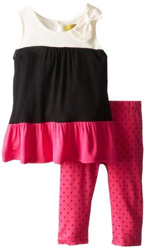 Nicole Miller Little Girls' Toddler Girl Sleeveless Colorblock Tunic and Legging, Black, 4T