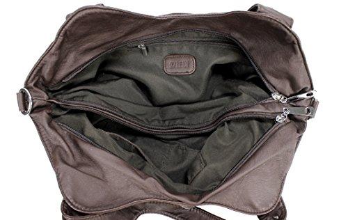 Coffee Scarleton Front Bag Washed H1476 Zippers Shoulder 7Pwxz7