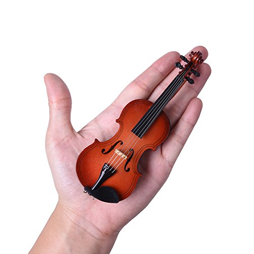 - eronde Mini Handheld Violin Toy Miniature Musical Instruments Collection Wooden Decorative Ornaments/Gift with Stand Support and Case