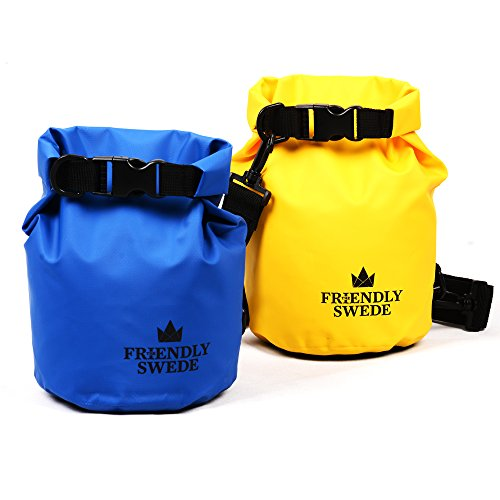 (2 Pack) The Friendly Swede Compact and Lightweight Dry Bag, Water-Resistant 500D Tarpaulin (2+2L (Yellow/Blue))