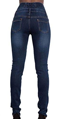 Jeans Haute Pantalon Bouton Longue Mode Taille Sexy Bleu Skinny Femme Elastique Marin avec Denim q5wZtPx