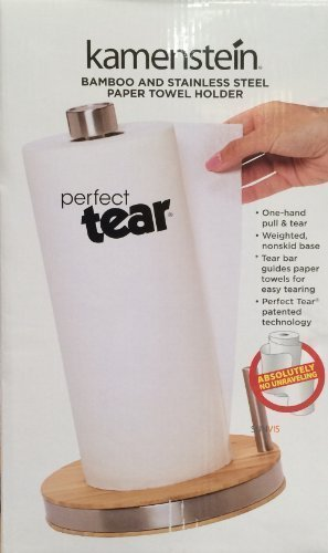Perfect Tear Paper Towel Holder - Perfect Tear Bamboo and Stainless Steel Paper Towel Holder