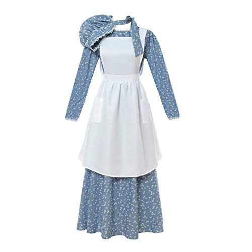 NSPSTT Women American Pioneer Colonial Dress Costume Girls Prairie Dress Civil War Floral ()