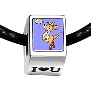 Chicforest Silver Plated Badminton cartoon mouse arm swing Photo I Love You Charm Beads Fits Pandora Bracelets