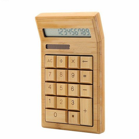 XDOBO Handmade Natural Bamboo Wooden Solar Warped Calculator Button Cell Powered Calculating Machine