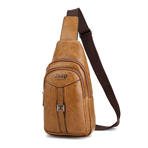 Jeep Buluo Leather Bag Men Shoulder Crossbody Sling Bag Messenger Bag Travel Handbag Sack Camel