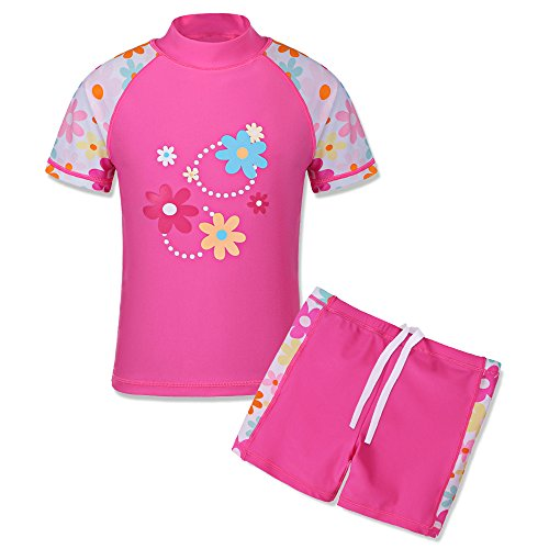 TFJH E Girls Swimsuit UPF 50+ UV 2PCS Cute Floral Shorts Swimwear HotPink Short 8-9 Years 10A by TFJH E