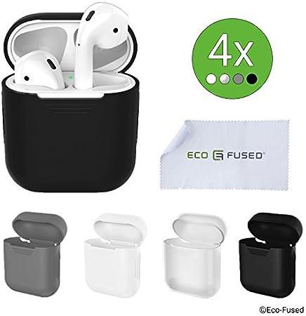Eco-Fused Cubiertas Protectoras Compatible con el Estuche Apple AirPods – Paquete de 4 (Negro, Blanco, Gris y Transparente) – Cubiertas de Silicona – Protege el Estuche: Amazon.es: Hogar