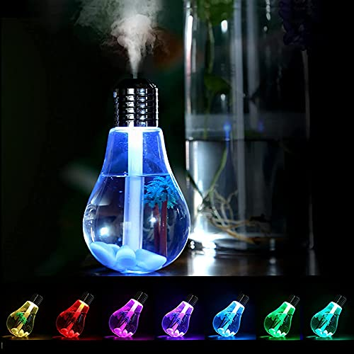 Mortilo Mini Portable Colorful Bulb Humidifier, Ultrasonic Essential Oil Humidifier with 7 Color Changing LED Night Lights, 400ml USB Mist Air Humidifier Oil Diffusers for Car, Home, Office, Bedroom (Gold)