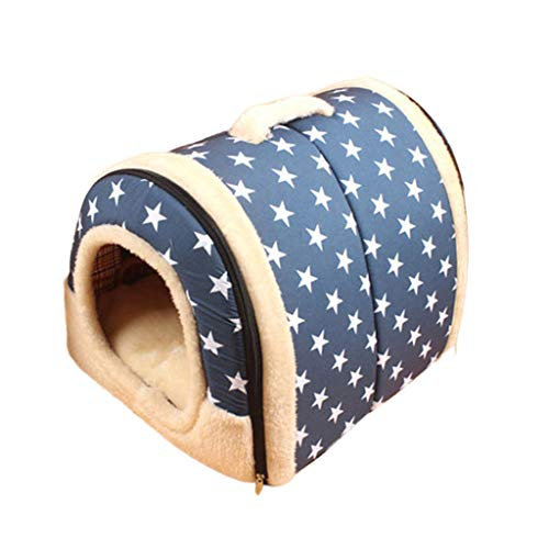 Price comparison product image Dogs Tent Bed,  Inkach Pet House for Small Cats Soft Cushion Comfy Nest Kennel,  Puppy Kitten Sleeping Mat Pad Warm Cave (S,  Blue)