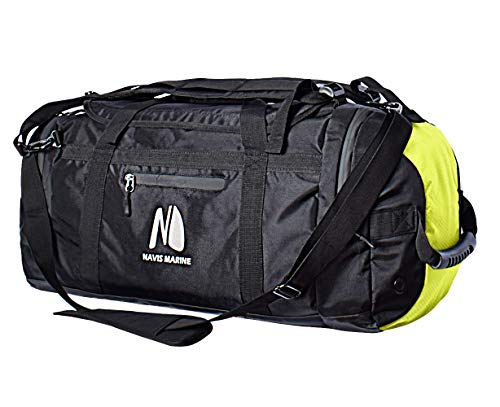 Duffel Dry Bags Waterproof for Sailing Backpack Boating Luggage Team Bag 50-litres (Black/Fluorescent)