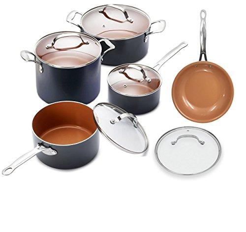 Gotham Steel 10 Piece Stock Sauce Pan Cookware Set by GOTHAM STEEL
