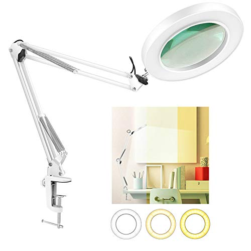 LANCOSC LED Magnifying Lamp with Clamp, 10 Levels Dimmable, 3 Color Modes, 5-Diopter Real Glass Lens, Adjustable Swivel Arm Lighted Magnifier Light for Desk Table Craft Workbench Close Work-2.25X