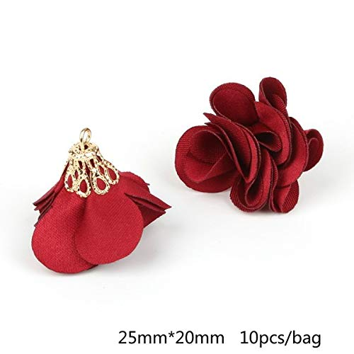 Bell Ornament Pearl - Kamas Super Cute Flower Shape Tassel Ornament Small Pearl Tuckle Torch Plating Gold Bell for DIY Dress Decoration House Curtain Decor - (Color: Burgundy)