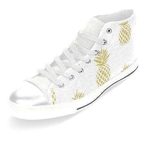 Interestprint Mujeres High Top Classic Casual Canvas Zapatillas De Moda Zapatillas De Deporte Con Cordones Sneakers Gold Pineapple
