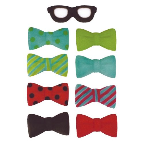 Geek Bow Tie Glasses Sugar Decorations Cookie Cupcake Cake 12 Ct.