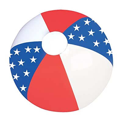 12 Pack - PATRIOTIC RED, WHITE AND BLUE STAR BEACHBALL