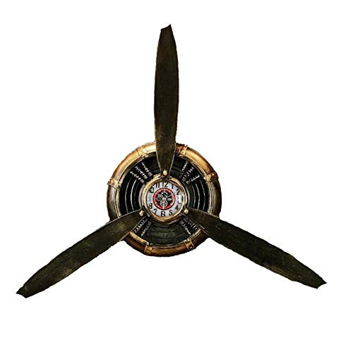 (QBDS Airplane Propeller Vintage Wall Hanging Wall Clock bar Cafe Wrought Iron Wall Decoration Decorative Pendant)