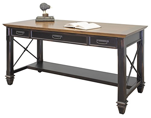 Martin Furniture Hartford Writing Desk, Brown - Black paint with a Twelve Step two toned hand rubbed finish with light physical distressing Two utility drawers and a drop front keyboard/pencil drawer provide ample storage for both work and home needs Power center with two AC power outlets and three USB 2.0 connections - writing-desks, living-room-furniture, living-room - 41OPncV8DVL -