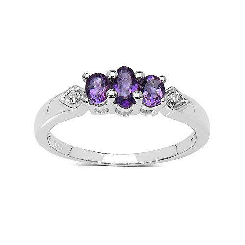 The Amethyst Ring Collection: Sterling Silver Amethyst 3 Stone Engagement...