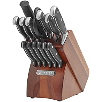 Sabatier 15-Piece Forged Triple Rivet Knife Block Set with Acacia Block