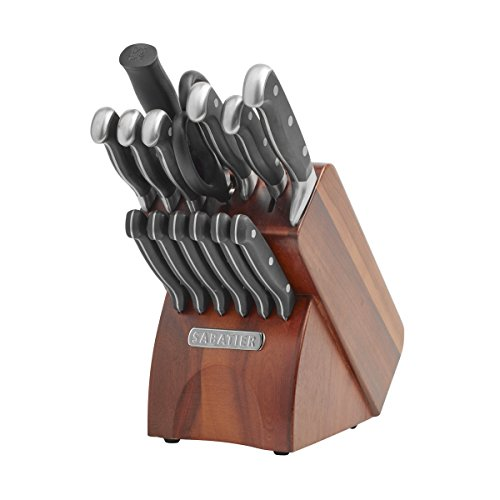 Sabatier 15-Piece Forged Triple-Rivet Knife Block Set with Acacia Block