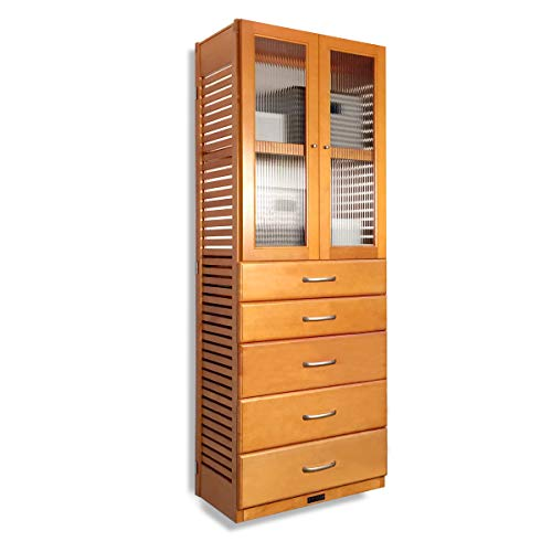 John Louis Home 16in. Deep Storage Tower with 5 Drawers (6in. - 8in. Deep) and Doors - Honey Maple Finish ()