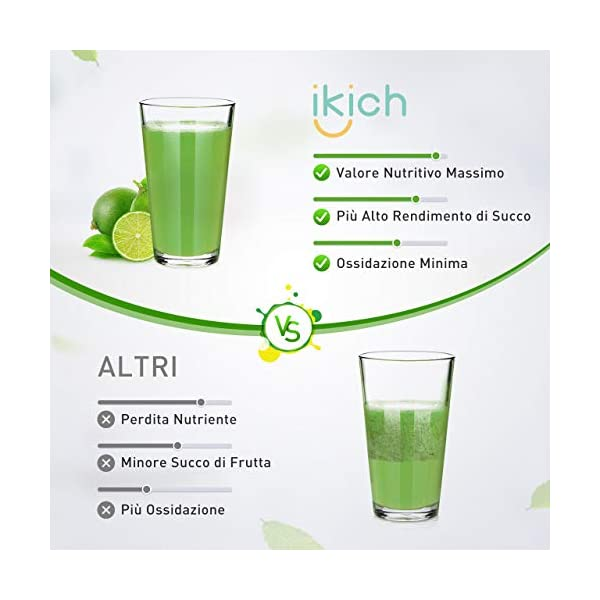 IKICH-Estrattore di Succo a Freddo Professionale, Estrattore a Freddo di Frutta e Verdura da 64 RPM/Min, 200W, 2 Contenitori e Ricetta Italiana - 2020 -