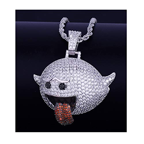 (LC8 Jewelry Hip Hop Emoji Bubble Flying Grimace Iced Out Bling CZ Pendant 18K Gold Silver Plated with 20 Inch Stainless Steel Chain)