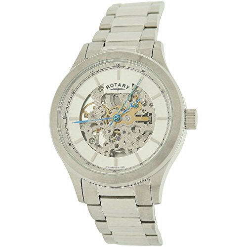 Rotary Gents Mechanical Skeleton Dial All Stainless Steel Watch GB00157/06