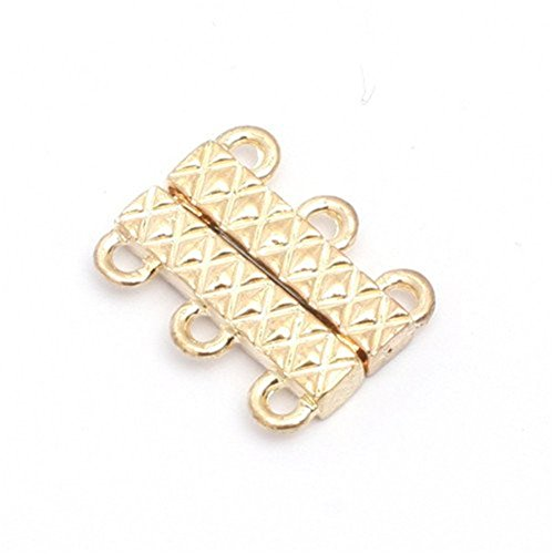 GEM-inside Clasp Gold Plated Magnet Jewelry DIY Charms Pendants Loose Beads Findings for Jewelry Making 14X21MM 1pcs 3 Strands ()