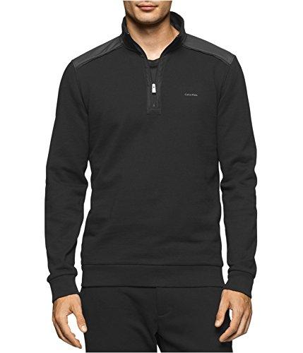 Calvin Klein Mens Quarter Zip Contrast Sweatshirt Black XL by Calvin Klein