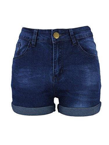 Xudom Womens Denim Bermuda Shorts Mid Waist Body Enhancing Curvy Cutoff Outfit Dark Blue XL (Sims Jeans 2)