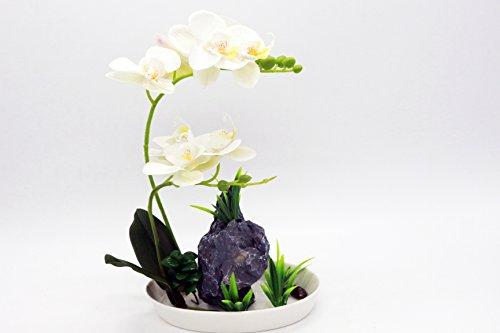 Leeman Artificial Lifelike Real Touch Flowers Arrangement Phalaenopsis Bonsai Orchid Miniascape Home Decoration Holiday Gift (White 538) Iris Arrangement