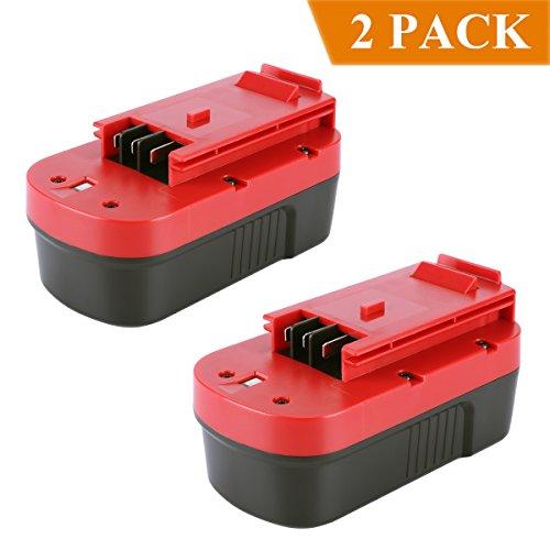 Biswaye 2 Pack 18V 3000mAh NI-CD Battery for Black & Decker HPB18-OPE 18-Volt Slide Pack Battery and 18-Volt Outdoor Cordless Power Tools