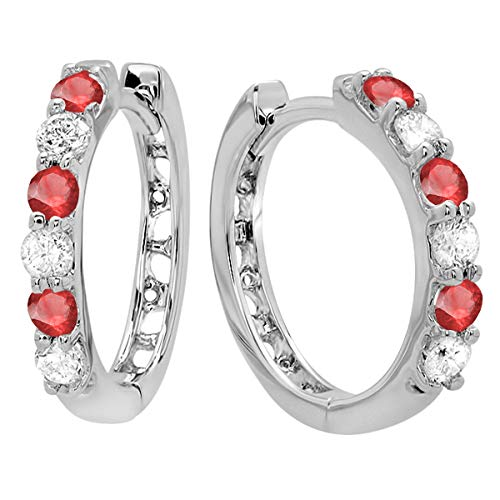 Dazzlingrock Collection 14K Round Ruby & White Diamond Ladies Huggies Hoop Earrings, White Gold
