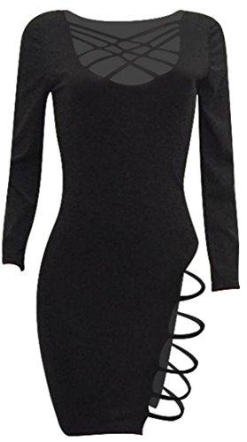 Cromoncent Femmes Croix Sexy Bandage Coupé Robes Midi Club Noir Moulante