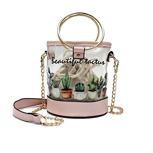 Bags Hombro White Mujer de Jelly Transparente Messenger Bolso Pink wYpqUR0n
